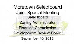 Moretown Select Board - Joint Special Meeting 9/10/18