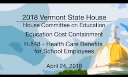 Vermont State House: H.848 - Health Care Benefits for School Employees 4/24/18