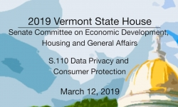 Vermont State House - S.110 Data Privacy and Consumer Protection 3/12/19