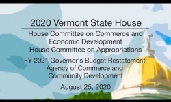 Vermont State House - FY 2021 Governor's Budget Restatement - ACCD 8/25/2020