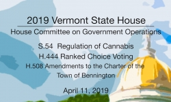 Vermont State House -  S.54, H.444, H508, Charter of Town of Bennington 4/11/19