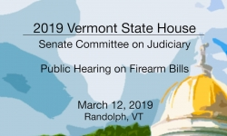 Vermont State House - Public Hearing on Firearms Bills 3/12/19