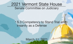 Vermont State House - S.3 Competency to Stand Trial and Insanity As a Defense 3/11/2021