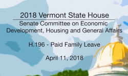 Vermont State House: H.196 - Paid Family Leave 4/11/18