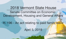 Vermont State House: H.196 - Paid Family Leave 4/5/18