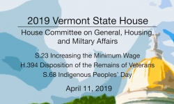 Vermont State House - S.23, H.394, S.68 4/11/19