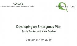 Vermont Arts Council - VACDaRN - Developing an Emergency Plan