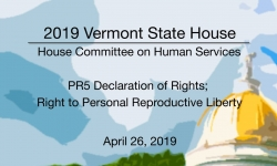 Vermont State House - PR5 Declaration of Rights; Right to Personal Reproductive Liberty 4/26/19