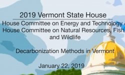 Vermont State House - Decarbonization Methods in Vermont 1/22/19