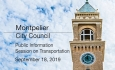 Montpelier City Council - Public Information Sessionon Transportation 9/18/19