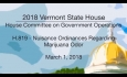Vermont State House: H.819 - Nuisance Ordinances Regarding Marijuana Odor 3/1/18