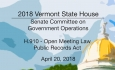 Vermont State House: H.910 - Open Meeting Law Public Records Act 4/20/18