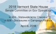 Vermont State House: H624 Statewide Voter Checklist, H828 Disclosures in Campaign Finance 4/6/18
