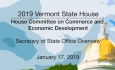 Vermont State House - Secretary of State Office Overview 1/17/19