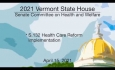 Vermont State House - S.132 Health Care Reform Implementation 4/15/2021