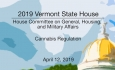 Vermont State House - Cannabis Regulation 4/12/19
