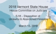 Vermont State House: S.55 - Disposition of Unlawful & Abandoned Firearms 3/15/18