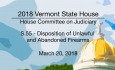Vermont State House: S.55 - Disposition of Unlawful & Abandoned Firearms 3/20/18