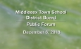 Middlesex Town School District Board - Public Forum, December 6, 2018
